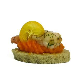 Canapé Crevette et purée de carottes à l'orange Maison BEUCHER